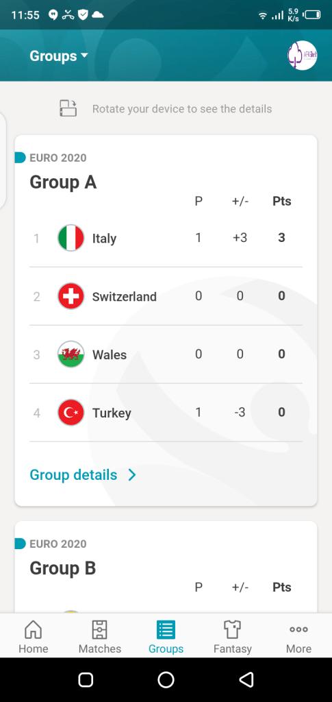 Screenshot of Euro 2020 App