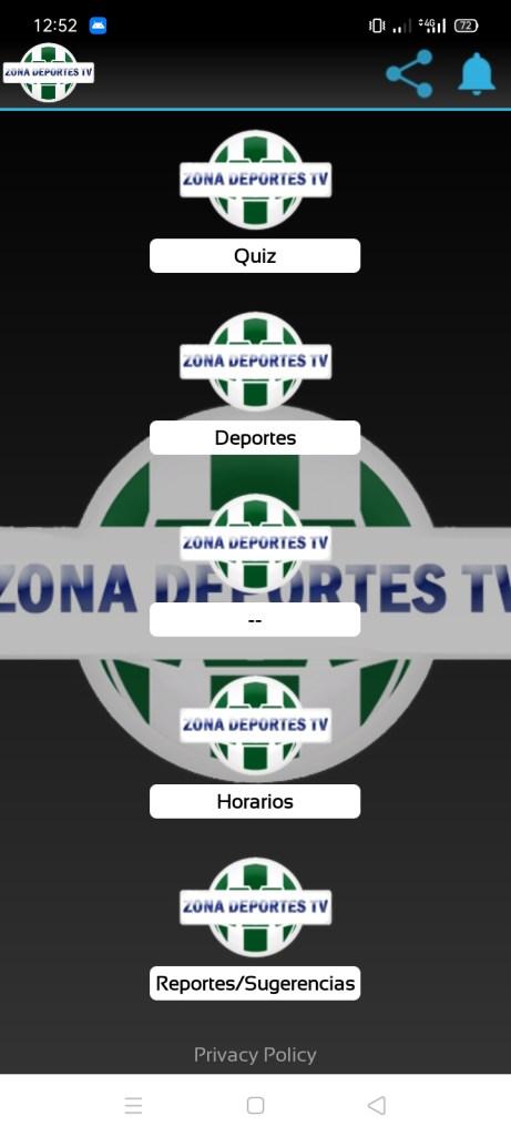 Screenshot of Zona Deportes TV App