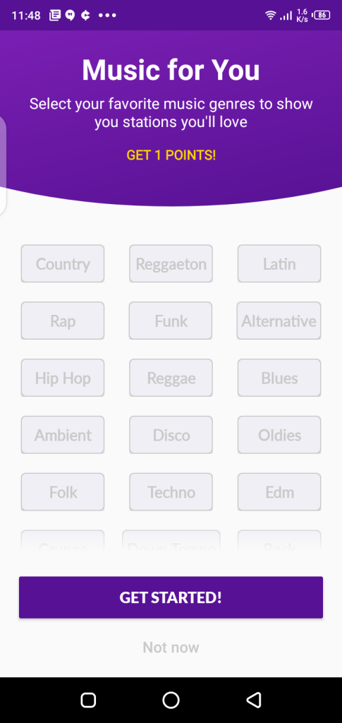 Screenshot of Current App