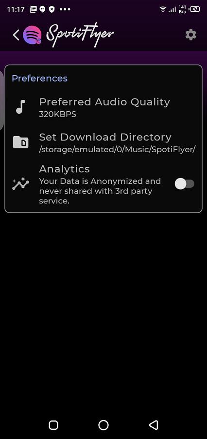 Screenshot of Spotiflyer App