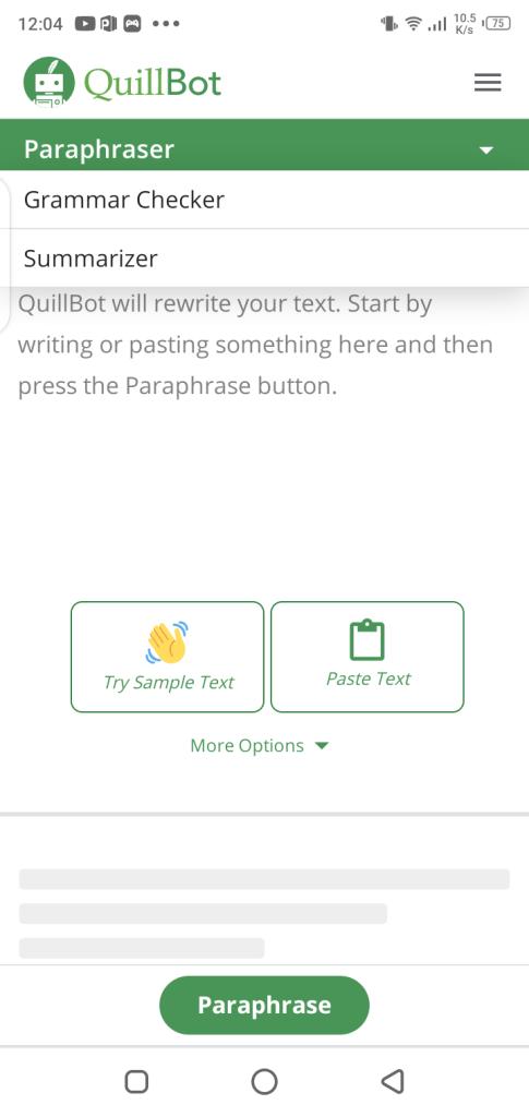 Screenshot of Quillbot App