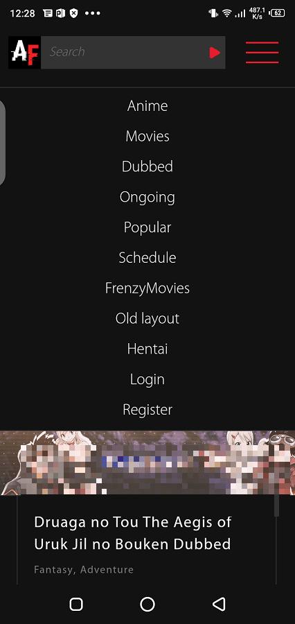 Screenshot of AnimeFrenzy
