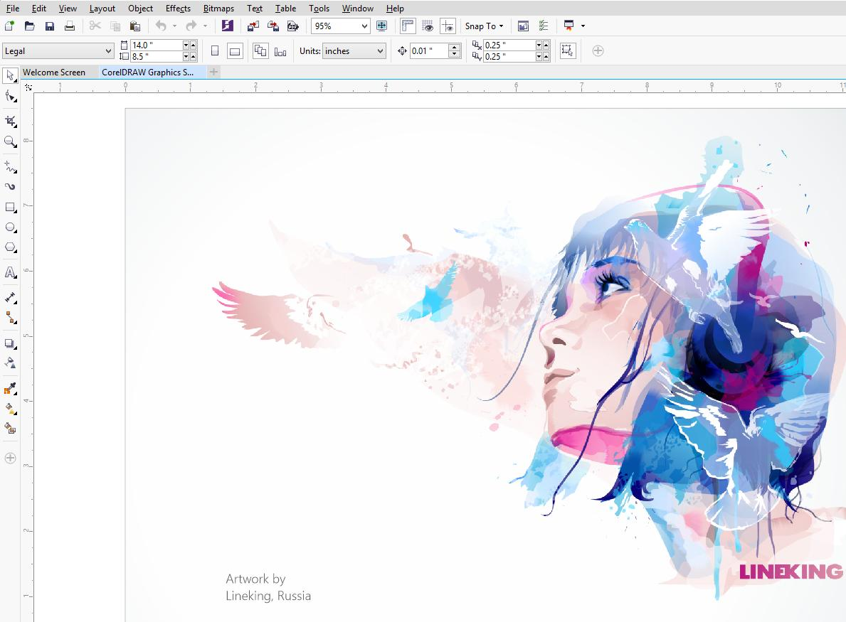CorelDraw Graphics Suite X7 facial editing work