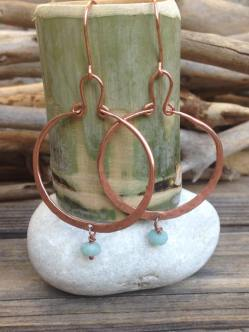 large copper hoops with amazonite