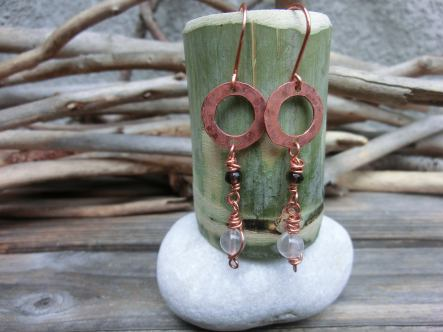 disk dangle earrings with blue sandstone, smoky and rose quartz