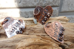 A Rose for Mother Mother's Day Handmade Copper Heart Pendants