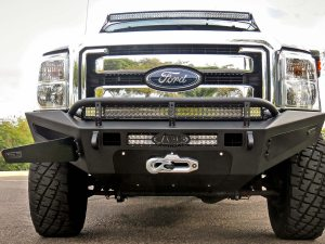 "2011 - 2016 Ford F-250/350 HoneyBadger Front Bumper with Winch Mount and Storage Boxes and 40"" Light Bar and 20"" Light Bar in Hammer Black with Satin Black panels"