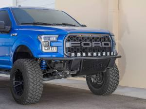 Ford F-150 ADD Lite Front Bumper with 10 Dually mounts/universal plate on top in Hammer Black with Satin Black Skid Plate