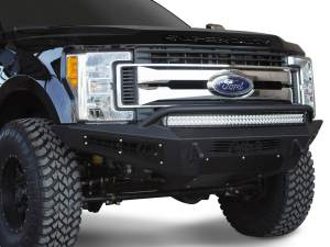 "Ford F250 2017 - up HoneyBadger Front Bumper with HB logo cutout and 10 dually mounts/universal plate on top and 20"" Universal LED bar mounts in center and 10"" SR mounts in side panels in Hammer Black and Satin Black Panels"