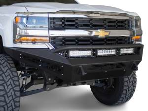 "Chevy 1500 Honey Badger Front Bumper with HB logo cutout and 10 dually mounts/universal plate on top and 20"" Universal LED bar mounts in center and 10"" SR mounts in side panels in Hammer Black and Satin Black Panels"