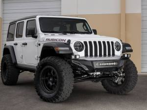"Jeep Wrangler JL Stealth Fighter front Bumper with 5 dually mounts/universal 20"" in center and pair of dually mounts on each side and D-Ring Clevis Mounts in Hammer Black with Satin Black Panels"