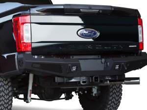 Ford F250 2017 - up HoneyBadger Rear Bumper with Integrated Tool Boxes on Sides with D-Ring Clevis Mounts and Mount Tab for Dually in Hammer Black with Satin Black Panels