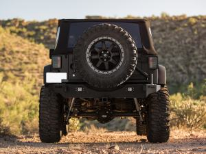 Jeep JK Stealth Fighter Jeep rear bumper with ADD Logos with LED Flush mount light mounts (For Stock Factory hitch mount) in Hammer Black
