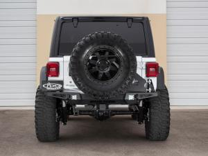 Jeep Wrangler JL Stealth Fighter Rear Bumper set up for duallys and D-Ring Clevis Mounts in Hammer Black with Satin Black panels