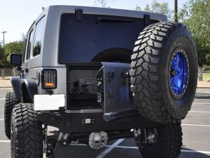 Jeep JK Stealth Fighter rear bumper Add on tire carrier in Hammer black