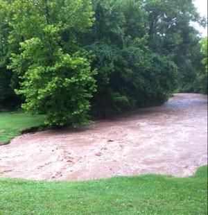 Kiefer Creek in Flood at Short Track Dirt Crit Races