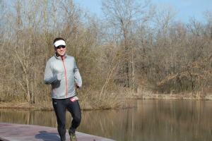 20k Overall winner Chad Silker crosses the boardwalk at Shaw Nature Reserve