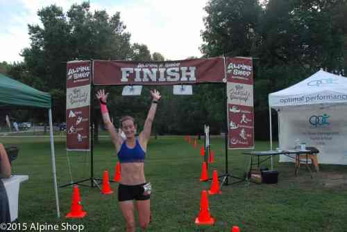 Maggie Yount winning Race #1 of the Alpine Shop Summer Trail Run Series presented by Marmot.