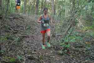 Katherine Picarella cruises on the Council Bluff Lake singletrack.
