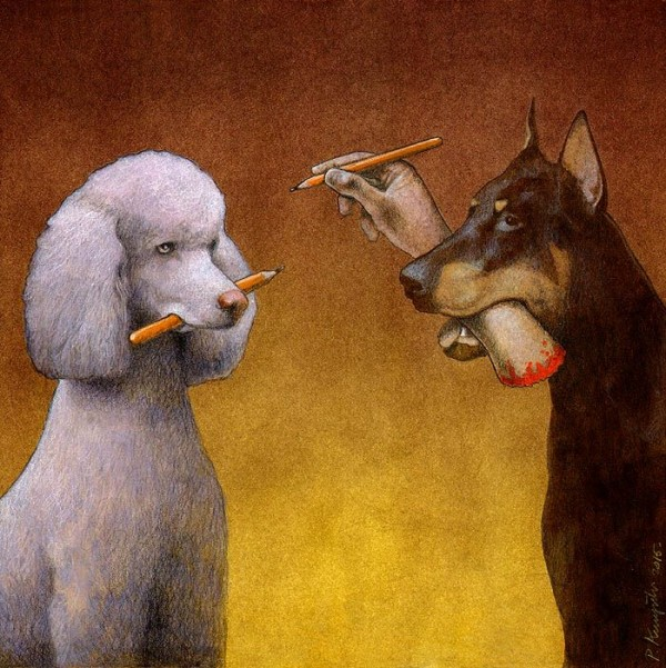 2 chair kitchen table set 4 hole faucets thought-provoking illustrations by pawel kuczynski