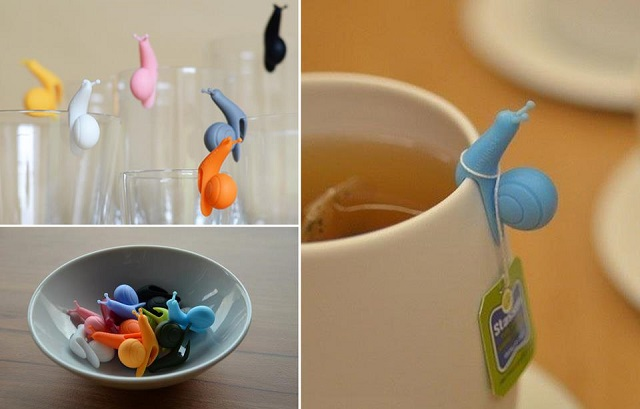 amazon kitchen cabinets corner booth seating silicone snail - wineglass label or teabag holder