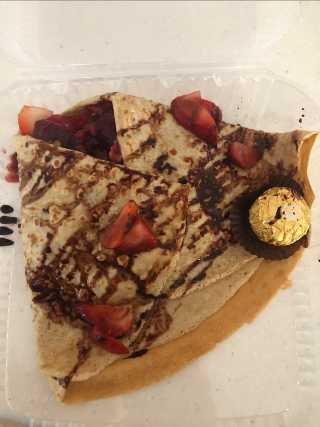 A chocolate crepe