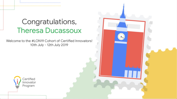 Congratulations, Theresa Ducassoux. Welcome to the #LON19 Cohort of Certified Innovators!