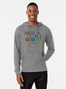 Man wearing Off The Chart cassette logo hoodie