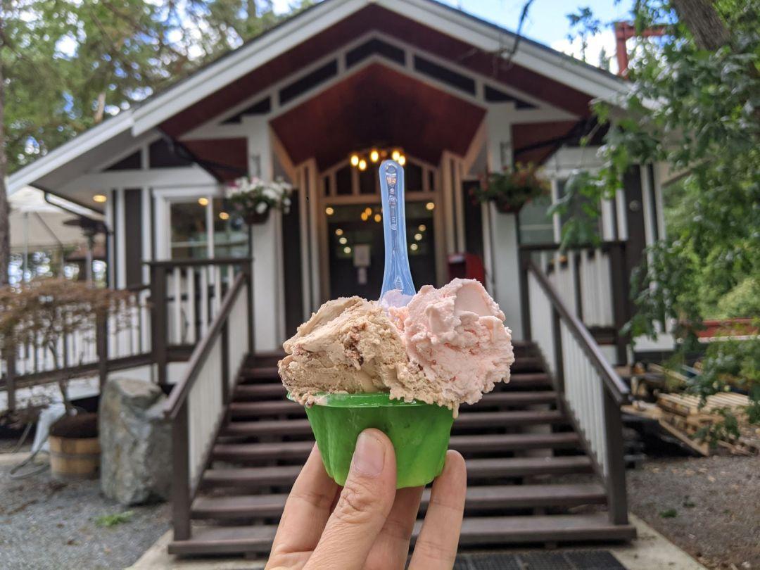 Scoop of gelato at Grove Hall Farm