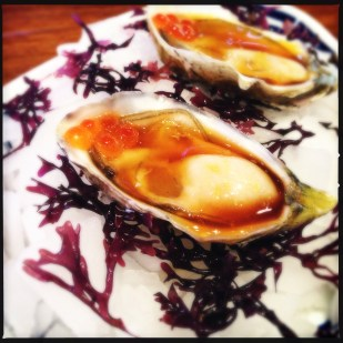 Oysters with ponzu and roe