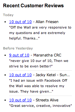 Recent Customer Reviews - Off the Wall