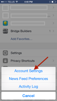 Facebook Account Settings - options - Mobile