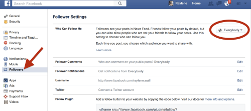 Facebook Followers set to Everybody to receive messages
