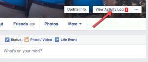 View Facebook Activity Log