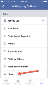 Filter Activity Log for LIKES Facebook mobile