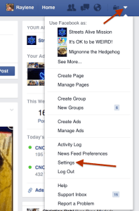View Facebook personal account Settings