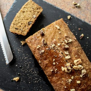 gluten free pumpkin walnut spiced loaf