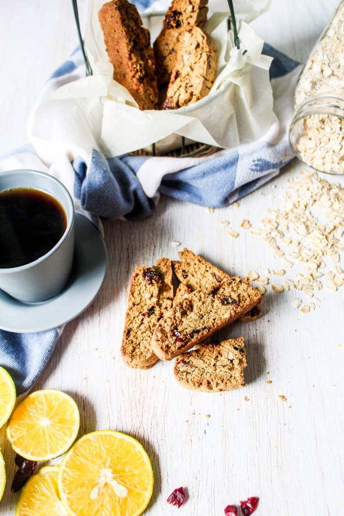 gluten free orange and cranberry oat biscotti