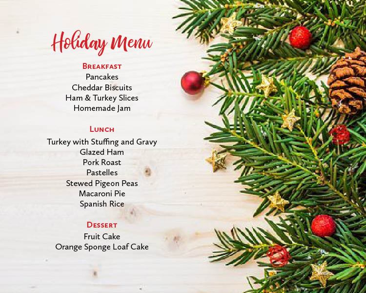 Gluten Free Holiday Menu
