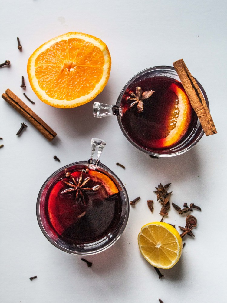 Mulled Wine Top view with ingredients