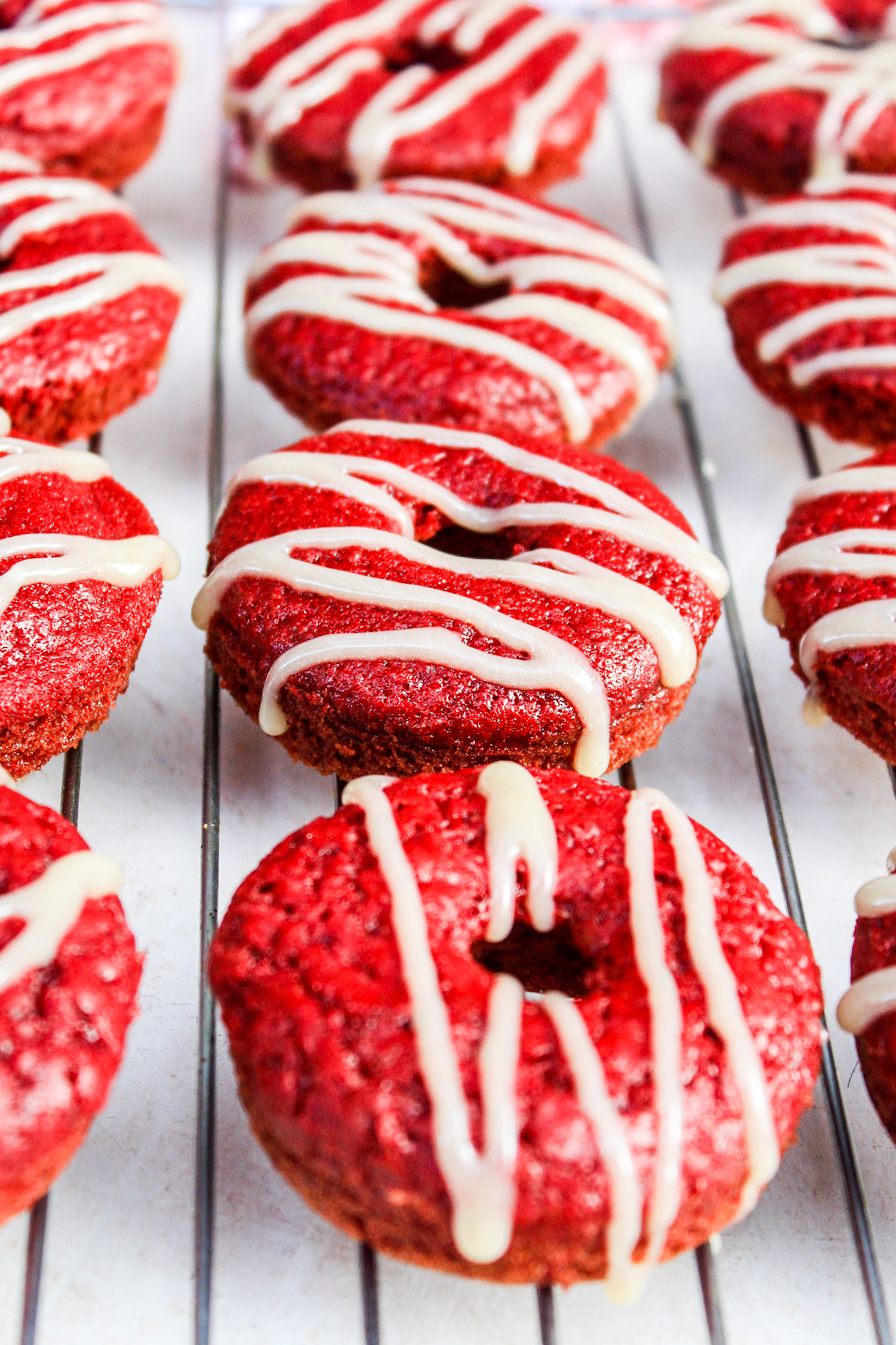 Red Velvet Donuts with Cream Cheese Drizzle