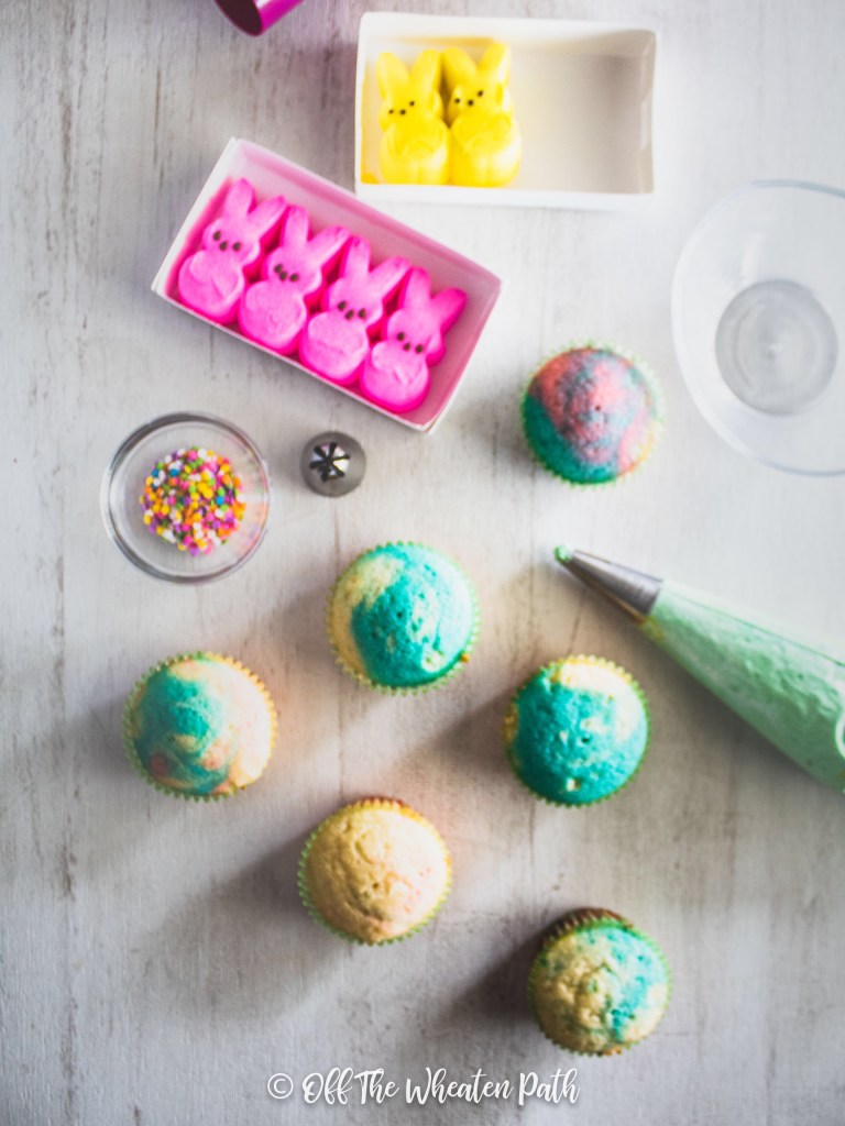 Flat lay of gluten free easter marble cupcakes