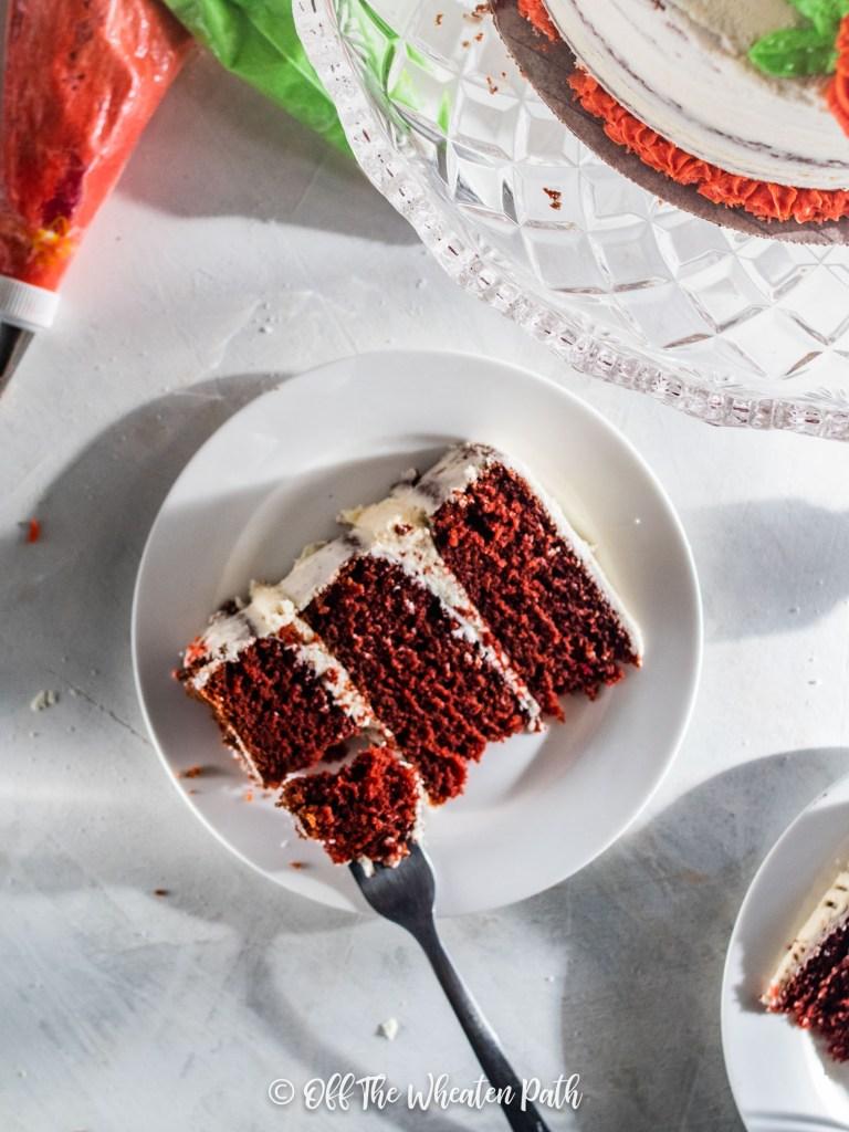 flat lay of red velvet cake