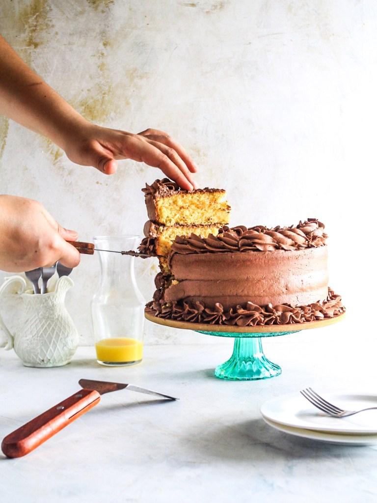 Easy Gluten Free Orange and Chocolate Layer Cake sliced