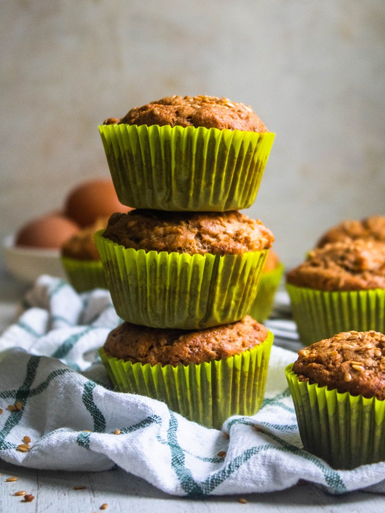Stack of dairy free gluten free flaxseed muffins
