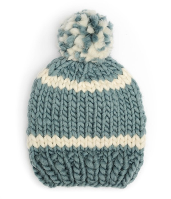 Handmade wool hats - Stone and Ivory striped bobble hat with mixed colour pom pom. Click to customise.