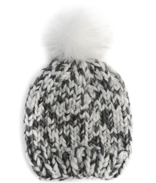 Handmade wool hats - Grey Fizz bobble hat with a white furry pompom. Click to customise.