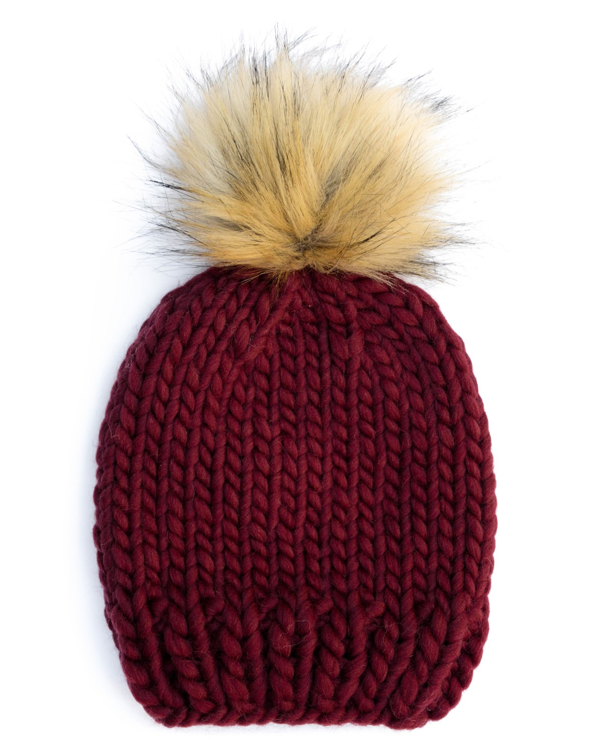 off_the_wool_handmade_knitted_bobble_hat_furry_fur_pompom_maroon