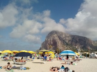 The view of the mountain from the beach.