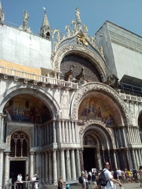 The entrance of the Basilica di San Marco.